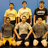 Lehigh College wrestling coaches (back row-left): John Hughes, Pat Santoro, Brad Dillon; (front row-left): Lehigh wrestlers-Brandon Hatchett, Alex Caruso, Mike Galante.<br /> PHOTO: KELLY BIRDSEYE