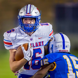 Westlake Chaparrals Jackson Coker (16) runs the ball just shy of the a touchdown following a completed pass at the district football game between the Westlake Chaparrals and the Pflugerville Panthers at Pflugerville High School on Friday, September 15, 2017. PHOTO CREDIT - JOHN GUTIERREZ