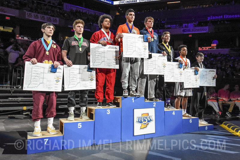 170 Podium: 1st Place - Nick South of Columbus East 2nd Place - Clayton Fielden of Garrett 3rd Place - Elijah Mahan of Roncalli 4th Place - Derek Blubaugh of Bloomington South 5th Place - Graham Calhoun of Plymouth 6th Place - Joseph Walker of Mishawaka 7th Place - Macartney Parkinson of Evansville Mater Dei 8th Place - Zane Gilbreath of Rochester Community