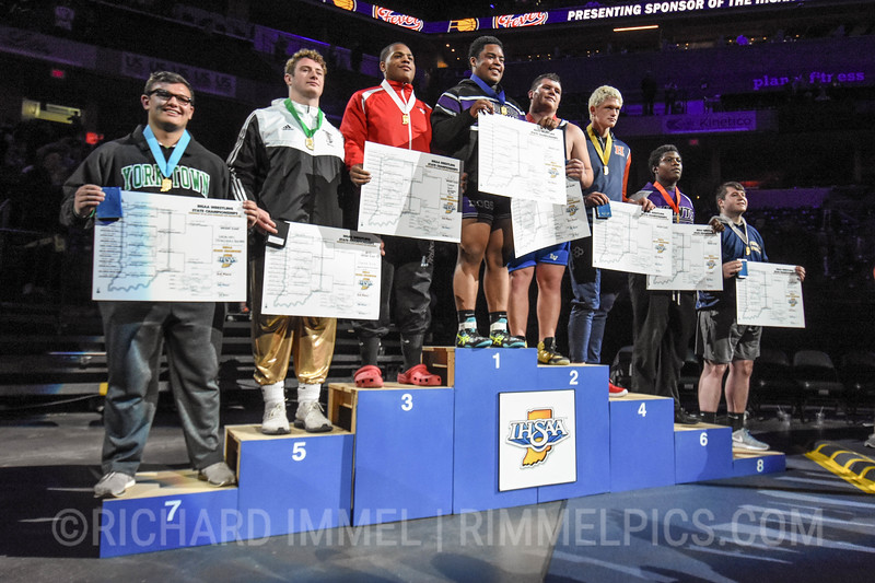 285 Podium: 1st Place - Dorian Keys of Brownsburg 2nd Place - Alex Cartwright of LaVille 3rd Place - Jamichael Watts of North Central (Indpls.) 4th Place - William Crider of Harrison (WL) 5th Place - Yehezquel DeVault of Penn 6th Place - Muhammad Sidibe of Ben Davis 7th Place - Holden Parsons of Yorktown 8th Place - Vincent Yoder of Fairfield
