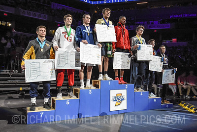 160: 1st Place - Jordan Slivka of Indianapolis Cathedral 2nd Place - Donnell Washington Jr. of Portage 3rd Place - Brooks Davis of Perry Meridian 4th Place - Jon Ruble of Bellmont 5th Place - Peyton Pruett of Center Grove 6th Place - Robert Deters of Castle 7th Place - Hayden Lohrey of Shenandoah 8th Place - Peyton Asbury of Brownsburg