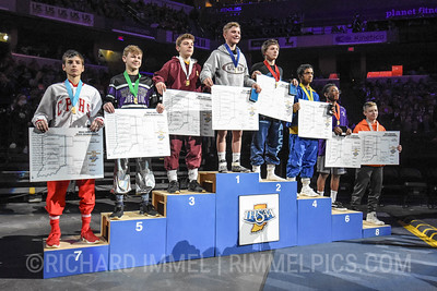 106 Podium: 1st Place - Brennen Cernus of Culver Academies 2nd Place - Alexzander Cottey of Perry Meridian 3rd Place - Alec Freeman of Evansville Mater Dei 4th Place - Suhas Chundi of Carmel 5th Place - Logan Miller of Brownsburg 6th Place - Malik Hall of Merrillville 7th Place - Stephen Roberson of Crown Point 8th Place - Jared Brooks of Wabash