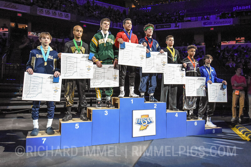 113 Podium: 1st Place - Jacob Moran of Portage 2nd Place - Zeke Seltzer of Indianapolis Cathedral 3rd Place - Ben Dalton of Monrovia 4th Place - Gavinn Alstott of Floyd Central 5th Place - David Pierson of Warren Central 6th Place - Kamariyon Nelson of Brownsburg 7th Place - Harper Dedman of Oak Hill 8th Place - Jacob Simone of Hamilton Southeastern