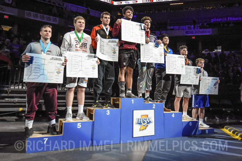 220 Podium: 1st Place - Arthur Fowler of Calumet 2nd Place - Lawson Aiken of Brownsburg 3rd Place - Jacob Bolte of Columbus East 4th Place - Andrew Irick of Hamilton Southeastern 5th Place - Drew Webster of North Montgomery 6th Place - Joey Kidwell of West Lafayette 7th Place - Levi Leffers of Central Noble 8th Place - Will Stewart of South Spencer
