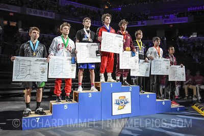 120 Podium: 1st Place - Brayden Littell of Center Grove 2nd Place - Blake Boarman of Evansville Mater Dei 3rd Place - Brayden Lowery of Roncalli 4th Place - Kysen Montgomery of Brownsburg 5th Place - Riley Bettich of Crown Point 6th Place - Jace Alexander of Wawasee 7th Place - Evan Beasley of Northridge 8th Place - William Finnearty of Culver Academies