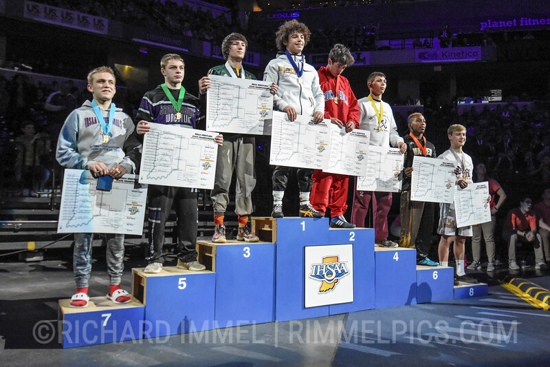 132 Podium: 1st Place - Asa Garcia of Avon 2nd Place - Alec Viduya of Roncalli 3rd Place - Geremia Brooks of Wawasee 4th Place - Mathew Gimson of Jimtown 5th Place - Drake Campbell of Brownsburg 6th Place - Aundre Beatty of Warren Central 7th Place - Logan Boe of Plainfield 8th Place - Seth Johnson of North Montgomery