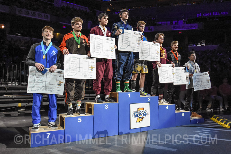 152 Podium: 1st Place - Elliott Rodgers of Indianapolis Cathedral 2nd Place - Cooper Noehre of Greenfield-Central 3rd Place - Eli Dickens of Evansville Mater Dei 4th Place - Brock Ellis of Chesterton 5th Place - Jake Schoenegge of Columbus East 6th Place - Isiah Levitz of Prairie Heights 7th Place - Ethan Hicks of Carroll (FW) 8th Place - Cole Cervantes of Griffith