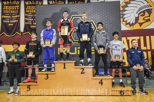 106 Awards: 1st - Kyle Rowan (Perry); 2nd - Braxton Brown (Allen); 3rd - Gary Steen (Reynolds); 4th - Diego Sotelo (Marmion Academy); 5th - Richard Fedalen (McDonogh School); 6th - Evan Holloway (New Kent); 7th - Andre Gonzales (Poway); 8th - Daniel Wask (Blair Academy)