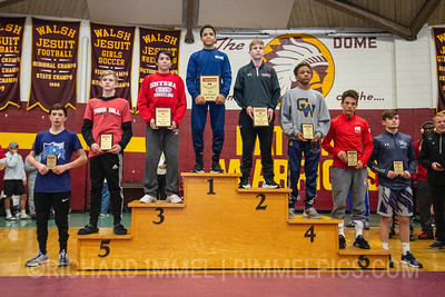 106: 1st Place - Marc-Anthony McGowan of Blair Academy; 2nd Place - Mac Church of Waynesburg Central; 3rd Place - Gabe Giampietro of Smyrna; 4th Place - Marlon Yarbrough of Copley; 5th Place - Cael Keck of Park Hill; 6th Place - Eligh Rivera of Lake Highland Prep; 7th Place - Daniel Sheen of Wyoming Seminary; 8th Place - Thomas Link of Malvern Prep