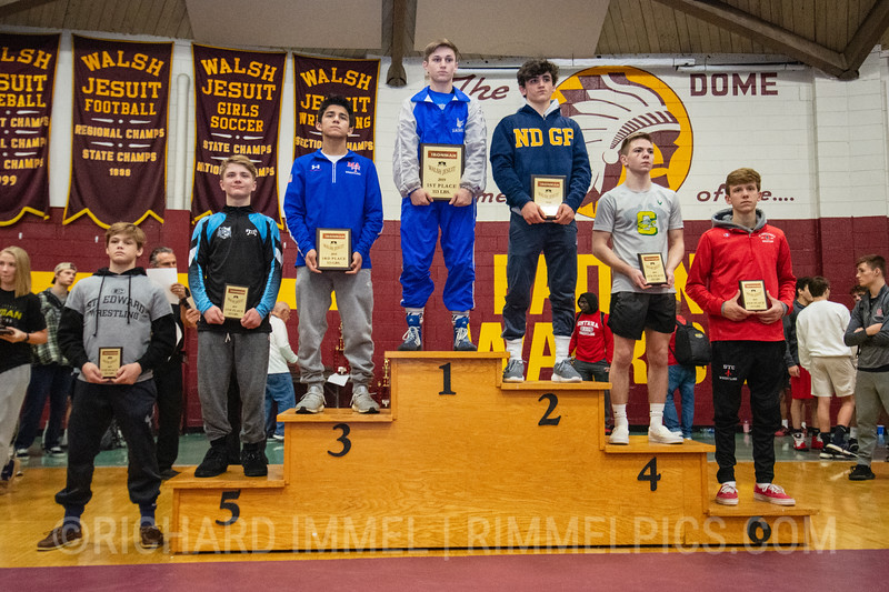 113: 1st Place - Gary Steen of Reynolds; 2nd Place - Brett Ungar of Notre Dame; 3rd Place - Diego Sotelo of Marmion Academy; 4th Place - Jacob Moon of Oregon Clay; 5th Place - Brennen Cernus of Wyoming Seminary; 6th Place - Erik Roggie of St. Christopher`s; 7th Place - Sean Seefeldt of St. Edward; 8th Place - Nick Gonzalez of Montini Catholic