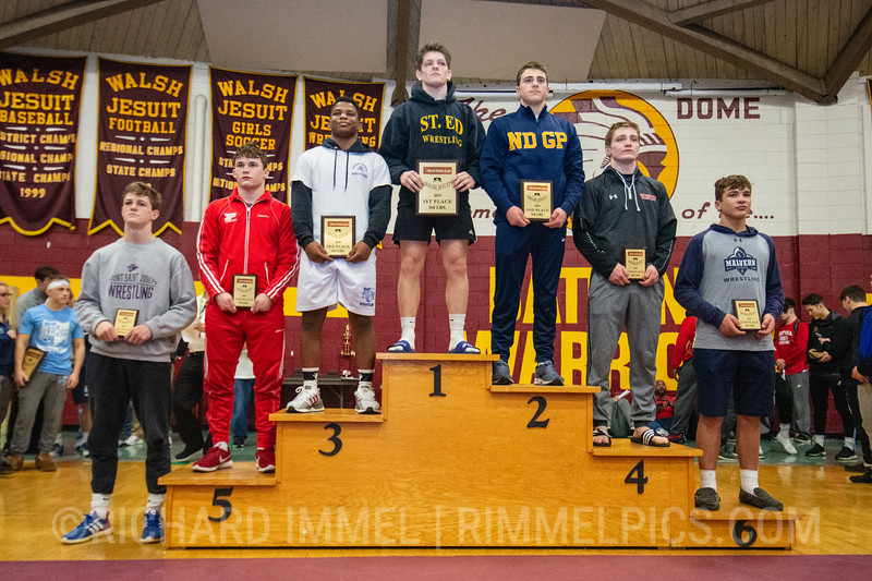 160: 1st Place - Paddy Gallagher of St. Edward; 2nd Place - Andrew Cerniglia of Notre Dame; 3rd Place - Gabe Arnold of Wyoming Seminary; 4th Place - Luca Augustine of Waynesburg Central; 5th Place - John Martin Best of Parkersburg; 6th Place - Jack Wehmeyer of Malvern Prep; 7th Place - Connor Strong of Mount Saint Joseph; 8th Place - AJ Kovacs of Iona Prep