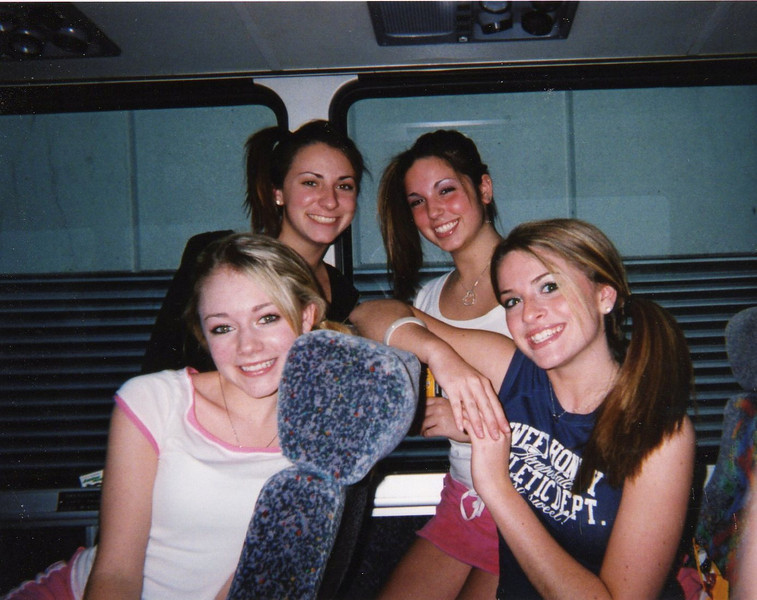 """80's Girls: Amber had a restless night the previous night because Casey put a """"cockroach"""" in her bed. To scare Amber Casey decided to chomp on the roach, which was completely fake. The rest of us girls got a good laugh out of it, a good night in Chicago!"""