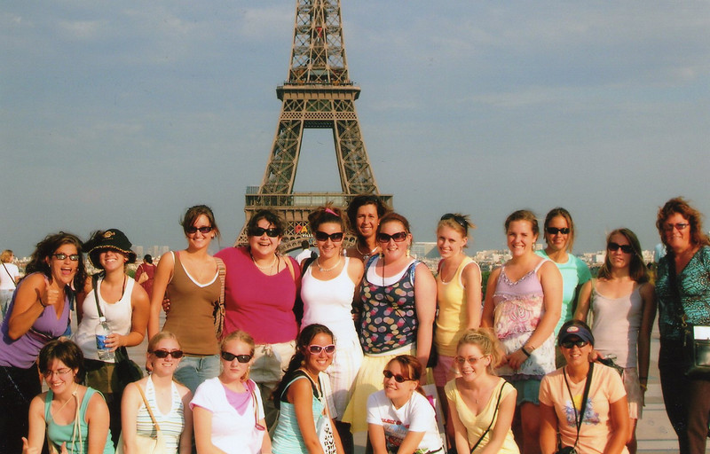 Eiffel Tower of course! Casey is in the front row, 2nd from the right, in the yellow shirt.