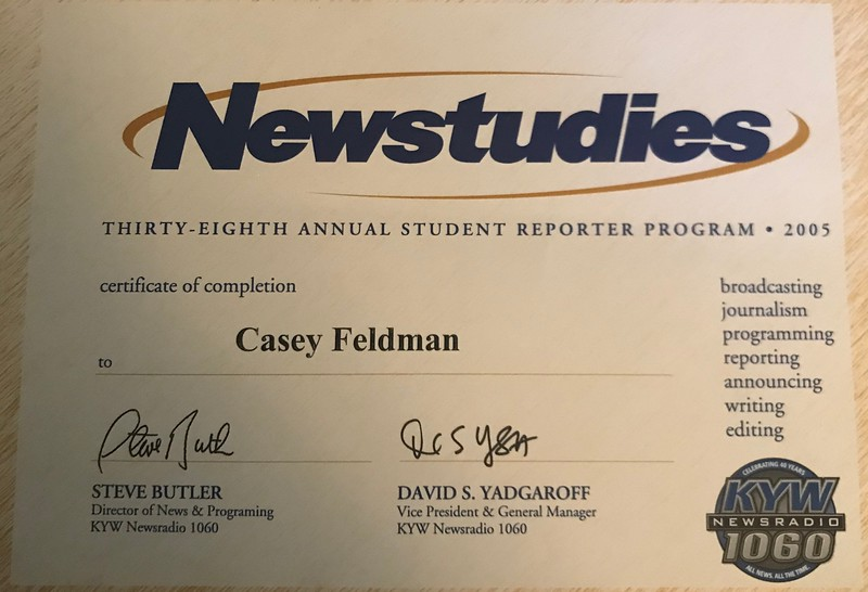 Casey was serious about about a future career as a journalist!