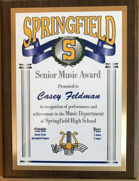Casey was soprano in  the Springfield H.S .Chorus and Springfield Singers throughout high school. She took voice lessons and sang constantly throughout the house. We often had to tell her to shush if someone was sleeping or she was too loud.