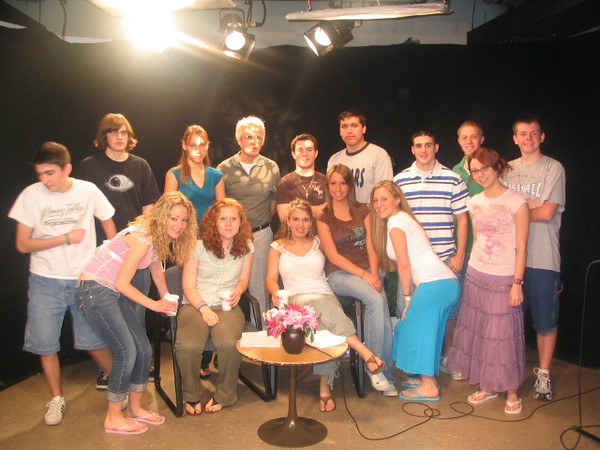Casey (front left) in her broadcast journalism class senior year.