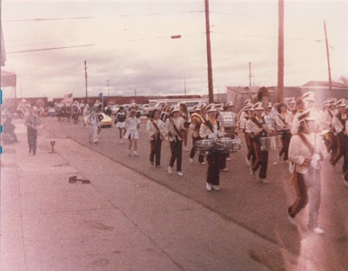 Someone snapped a photo of us marching in the Christmas Parade.