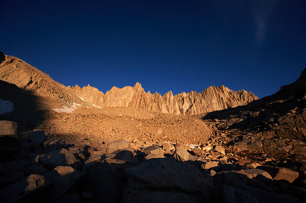 Sun light illuminates Mt. Whitney range