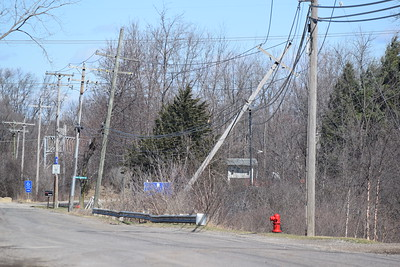 Downed power line along Lee Begole Drive in Novi on Wednesday, March 8, 2017.  (Mark Cavitt/The Oakland Press)
