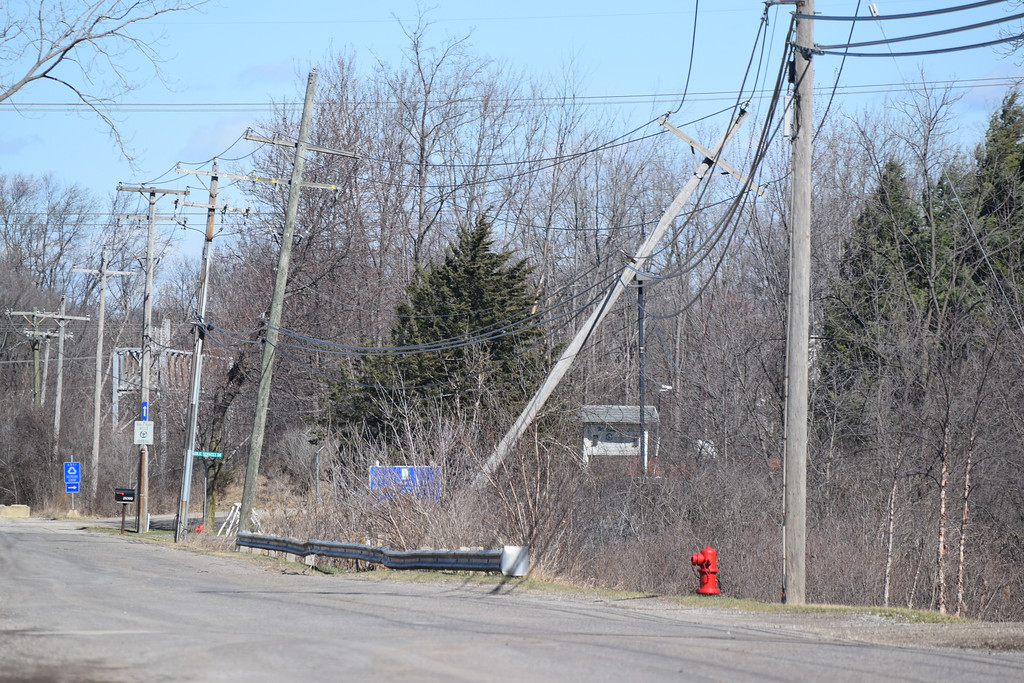 . Downed power line along Lee Begole Drive in Novi on Wednesday, March 8, 2017.  (Mark Cavitt/The Oakland Press)