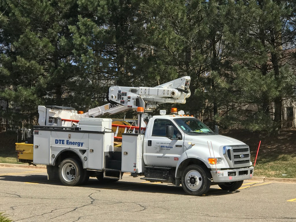 . A DTE Energy truck at the Village of Rochester Hills, where power remained out on Saturday afternoon. (Stephen Frye / The Oakland Press)