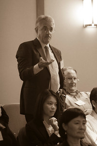 Russ Capper, co-host of The BusinessMakers Radio Show, poses a question to Michael Oxley