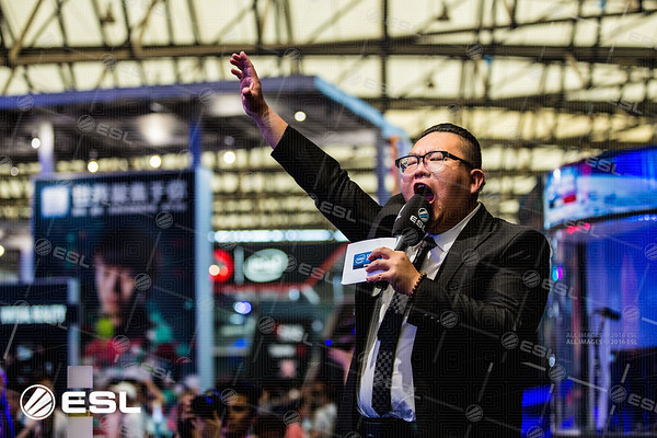 The stage host welcomes the audience to the Intel Extreme Masters Shanghai 2017