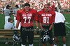 Olmy Olmstead (77 in red) and Joel Tallman (81 in red) of the Granville Blue Aces - Saturday, July 8, 2000 - South Central Ohio 7th Annual East vs West All Star Football Game held in Lancaster, Ohio