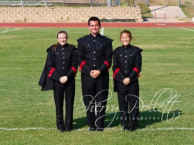 HHHS Band Drum Majors 6896 (2)-1  (L-R) Krista Pollett, Mason Gillham, Grace Kim