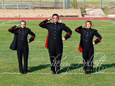 HHHS Band Drum Majors 6902 (2)-1  (L-R) Krista Pollett, Mason Gillham, Grace Kim