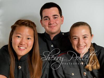 2012-2013 Drum Majors: Grace Kim, Mason Gillham, & Krista Pollett