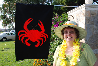Susan Balch Durrance welcomes the Crab Pack to the home of Chuck and Beth Duva