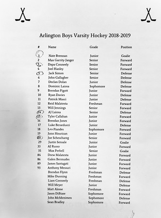 Boys Varsity Hockey: Arlington defeated Austin Prep 2-1 on January 29, 2019 at the Breakaway Ice Center in Tewksbury, Massachusetts.