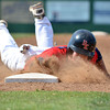 Team Oklahoma's Donovan Walton slides back into first to avoid being picked off Saturday during  the championship game of the Heartland Classic.<br /> Kyle Phillips/The Transcript