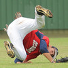 Team Oklahoma centerfielder Zac Loomis of Edmond Santa Fe makes a diving catch of a Team Ohio flyball Thursday, June 21, 2012, during a game in the Heartland Classic at Southmoore Field. Jerry Laizure / The Transcript