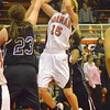 Norman High's Bethany Cox takes a shot during the Tigers' game against Moore High School Friday night.<br /> Transcript Photo by Kyle Phillips