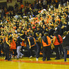 Norman High students celebrate after the girls' basketball team beats Norman North during the Clash basketball game Friday at NHS.<br /> Transcript Photo by Kyle Phillips