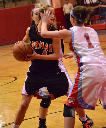 Norman High forward Beth Cox takes a shot  during the Tigers' game Thursday at the Del City Holiday Basketball Tournament.<br /> Transcript Photo by Kyle Phillips