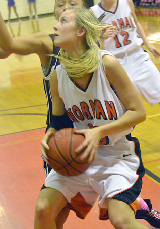 Norman High's MacKenna Perkins looks for an opportunity to take a shot as the Tigers' take on Moore High School Friday night at Norman High.<br /> Transcript Photo by Kyle Phillips