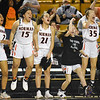 Norman High's bench celebrates a basket during their game against Norman North, Saturday, March 9, 2019, at Oral Roberts University. (Kyle Phillips / The Transcritpt
