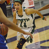 Norman North's Hayley Scott drives toward the goal Saturday during the Timberwolves' game against Millwood.<br /> transcript Photo by Kyle Phillips