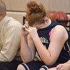 Southmoore's 	Lydia Caldwell reacts after the Sabercats lose to Edmond Memorial during the State Regional Basketball Tournament Saturday at Southmoore High School.<br /> Kyle Phillips/The Transcript