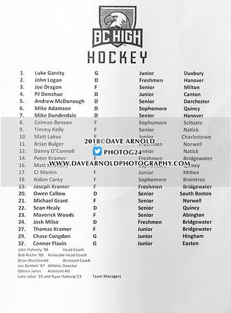 Boys Varsity Hockey: BC High defeated Catholic Memorial 5-0 on January 28, 2018, at Mass Boston in Boston, Massachusetts.