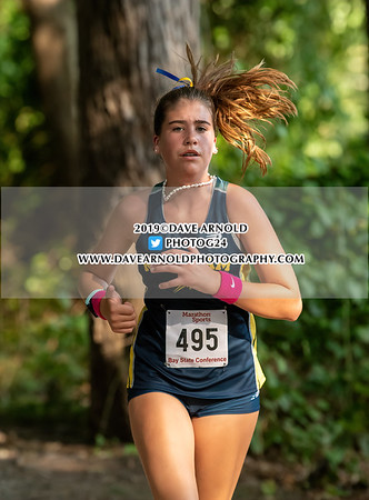 Girls JV Cross County: Braintree, Needham and Walpole in actions on September 11, 2019 atCutler Park in Needham, Massachusetts.