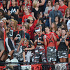 Westmoore football fans cheer for the Jaguars as they tale on Moore High School during the Moore War football game at Moore Staduim.<br /> Kyle Phillips/The Transcript