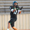 Norman North's Jake Higginbotham (12) brings in a pass during the Timberwolves' game against Edmond Santa Fe Thursday during a scrimmage at Moore High School.<br /> Kyle Phillips/The Transcript