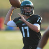 Norman North's quarterback Channing Meyer (17) throws a pass during the Timberwolves' game against Edmond Santa Fe Thursday during a scrimmage at Moore High School.<br /> Kyle Phillips/The Transcript