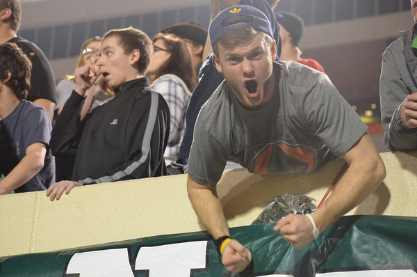 A Norman North fan shows his support for the team at the game in Stillwater.<br /> Kyle Phillips/The Transcript