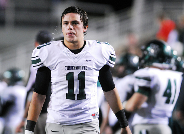Norman North's DJ Gasso (11) walks down the sideline Friday after Jenks scores another touchdown during the 6A State championship football game in Stillwater.<br /> Kyle Phillips/The Transcript