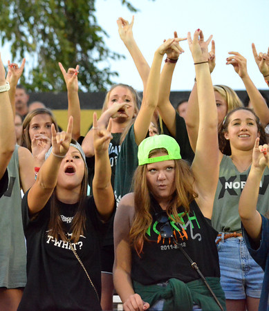 Norman North football fans cheer on their team Friday night as the Timberwolves' take on the Bombers at Midwest City.<br /> Kyle Phillips/The Transcript